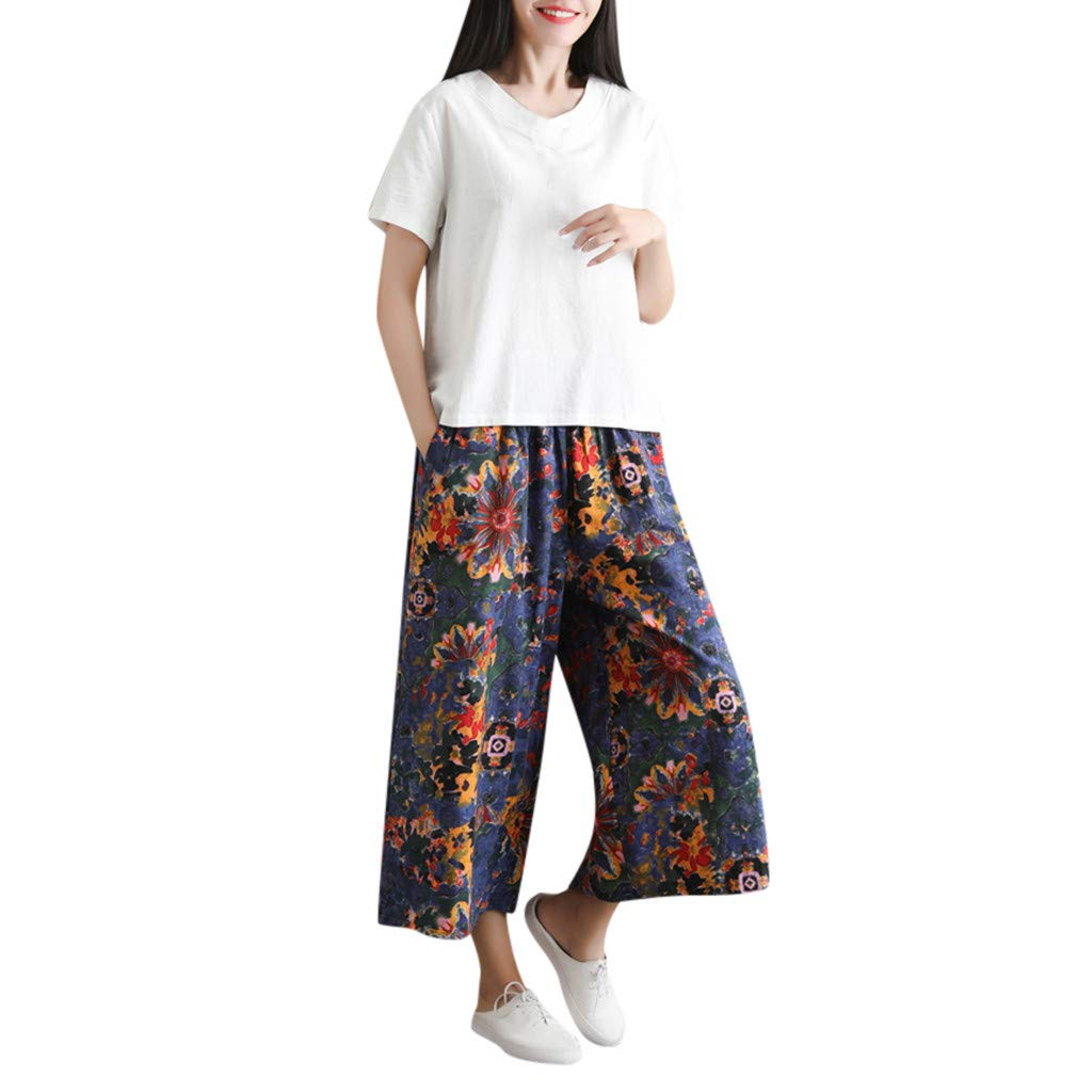 Two Piece Outfits for Women Casual Summer Solid Short Sleeve Shirt Tops Blouse and Long Print Pants 2PCS Set White