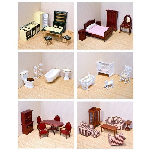 Melissa & Doug Deluxe Doll-House Furniture Bundle - Living Room Set, Kitchen, Bedroom, Bathroom, Nursery, and Dining Room