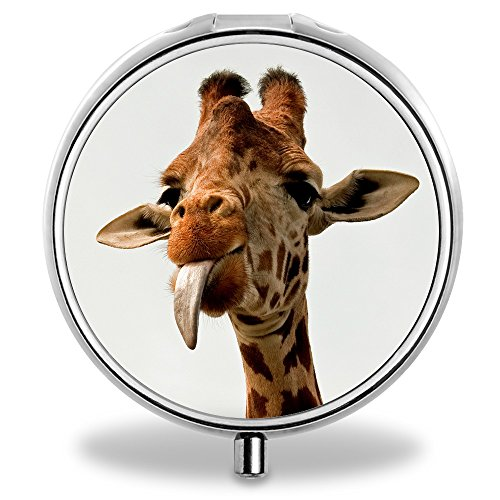 IMLONE Pill Organizer, Customized Cute Giraffe Pill Boxes With 3 Components and Mirror for Travelling and Daily Needs