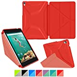Google Nexus 9 Case, rooCASE Origami 3D Slim Fit Thin Lightweight Folding Leather PU Folio Cover Stand Red Yellow