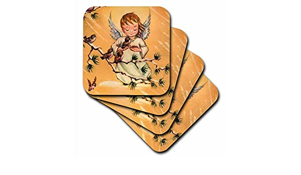 Set of 4 3dRose cst/_60793/_3 Child Angel Feeding Birds Ceramic Tile Coasters