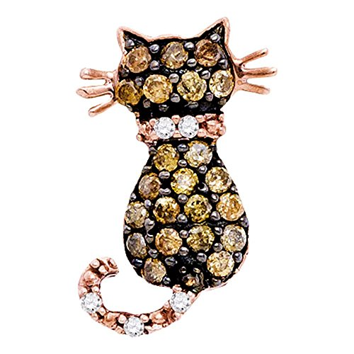 Sonia Jewels 14K Rose Gold Channel Set Chocolate Brown & White Cat Diamond Pendant Charm (1/3 cttw.)
