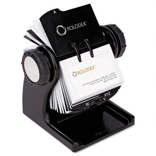Rolodex : Wood Tones Open Rotary Business Card File Holds 400 2 5/8 x 4 Cards, Black -:- Sold as 2 Packs of - 1 - / - Total of 2 Each