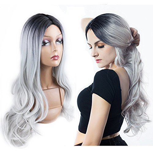 HANNE Ombre Gray Long Curly Wig Heat Resistant Synthetic Wig High Density Full Wigs for Women (1B/Gray)]()