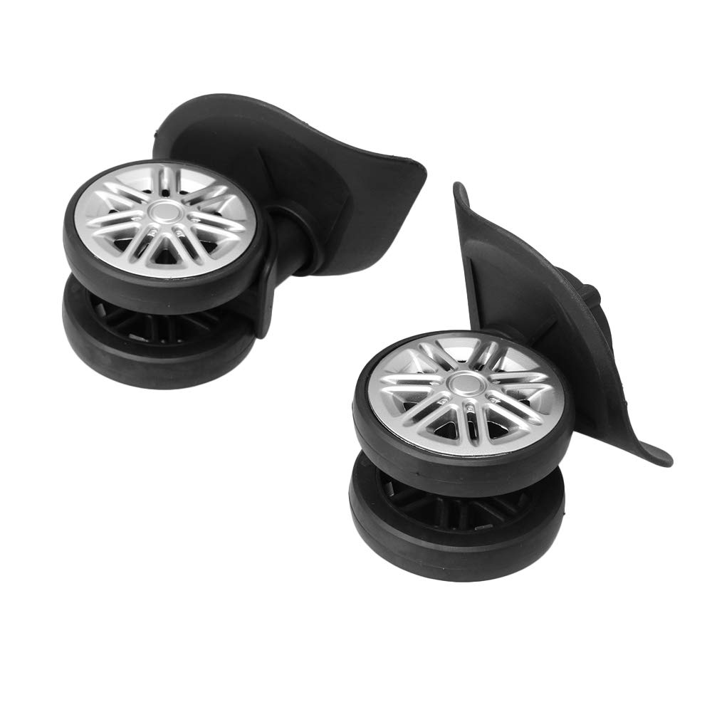 Homeswitch Plastic Luggage Swivel Universal Wheels 1 Left and 1 Right with Screws 82x74x59mm