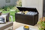 Keter Springwood Plastic Deck Storage Container Box Outdoor Patio Garden Furniture