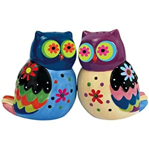 Westland Giftware Cozy Owls Magnetic Ceramic Salt and Pepper Shaker Set, 3-Inch