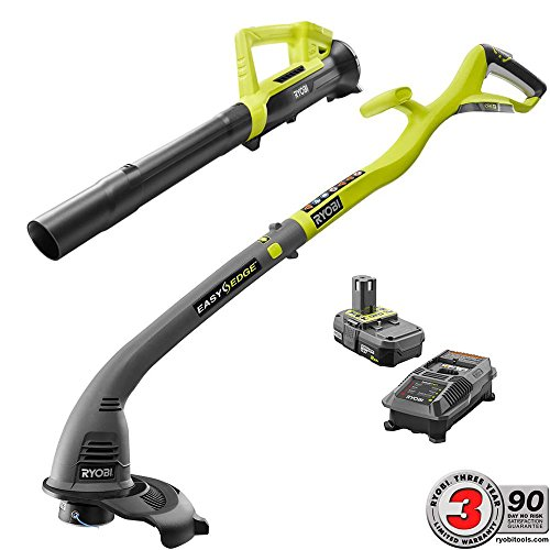 Cheap Ryobi One ONE+ 18-Volt Lithium-Ion String Trimmer/Edger and Blower Combo Kit 2.0 Ah Battery and Charger Included