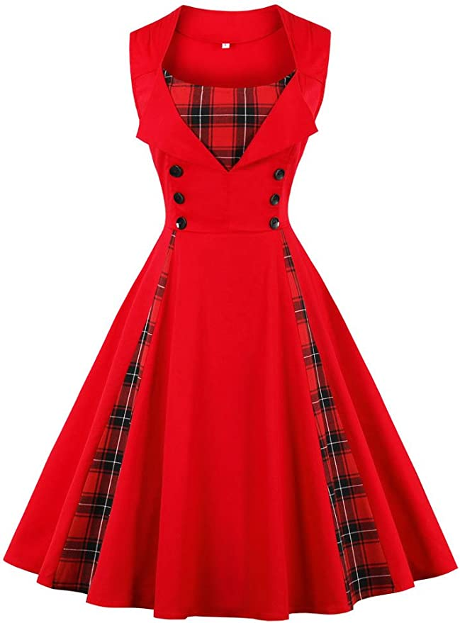 TALLA M. VERNASSA 50s Vestidos Vintage,Mujeres 1950s Vintage A-Line Rockabilly Clásico Verano Dress for Evening Party Cocktail, Multicolor, S-Plus Size 4XL 1357g-rojo