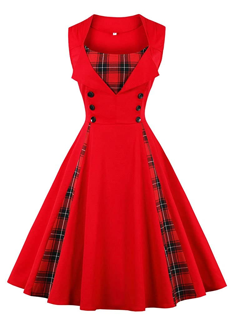 TALLA M. VERNASSA 50s Vestidos Vintage,Mujeres 1950s Vintage A-Line Rockabilly Clásico Verano Dress for Evening Party Cocktail, S-Plus Size 4XL 1357g-rojo