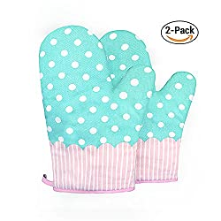Alisky Oven Mitts Gloves 2 Set Microwave Bbq Oven Cotton Baking Pot Mitts, Kitchen Glove Heat Resistant Cook Gloves Mitts For Cooking, Baking, Barbecue Potholder, Present (Blue)