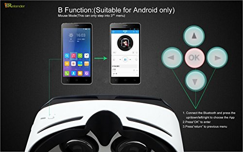 Crelander Virtual Reality Headset Bluetooth Built-in Eye Protected HD Adiustable Headset 3D Zoom Glasses with Adjustable Lenses & Head Strap for IMAX Movie Game Andriod/IOS Cellphone (Work with Siri) by Crelander (Image #8)