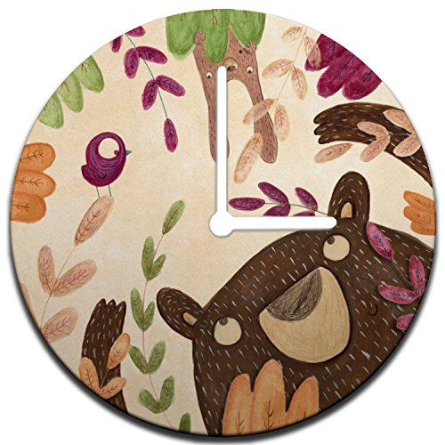 Mouse + Magpie Brown Bear with Bunny Kids Wall Clock Decorative 12'', Quiet, Non-Ticking, Perfect for Kids or Toddler Room, Nursery, Playroom or Office, Great Gift (Peek A-boo Friends Wall)