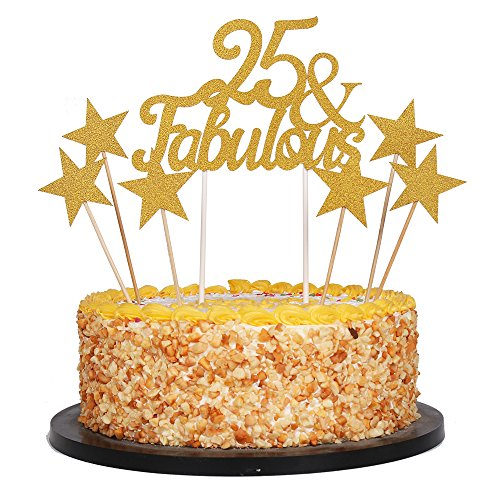 Home Of Fabulous Cakes Halloween (QIYNAO 7 Gold Glittery Fabulous Cake Topper and Five-Pointed Star, Wedding, Birthday, Anniversary, Party Cupcake Topper Decoration (25&)