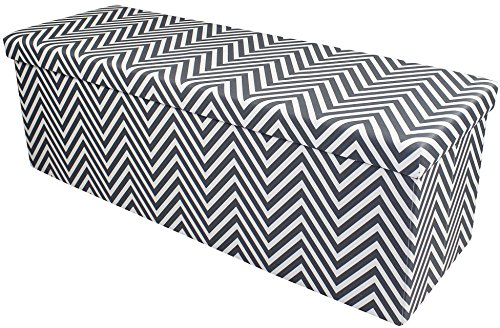 Giant Bin Boxes (Sorbus Chevron Storage Ottoman Bench – Foldable/Collapsible with Lid Cover – Perfect Hassock, Foot Stool, Toy Storage Chest, and more (Large-Bench, Gray))