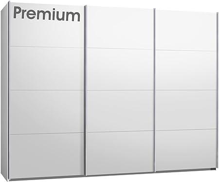 Premium armario de puertas correderas, puerta corredera, aprox 300 cm, blanco, con 28 mm de grosor exterior páginas y estantes, armario: Amazon.es: Hogar