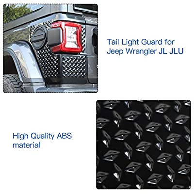 JeCar Rear Corner Armor ABS Tail Light Guard for 2020-2020 Jeep Wrangler JL & Unlimited Sports Rubicon Sahara, Black: Automotive