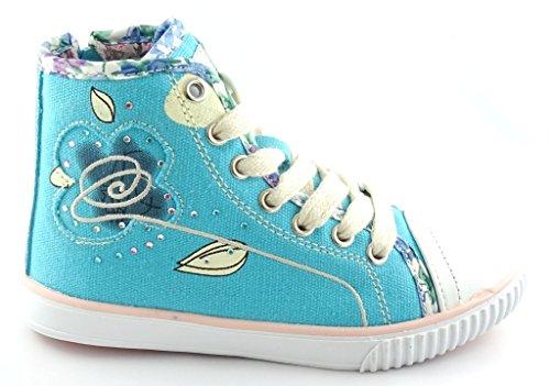 Camo Mädchen KNÖCHELSCHUHE Sneaker Skater GR.25-33 -778/779 Blau
