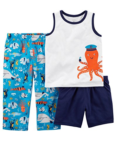 Carter's Boys' 3-Piece Pajamas Set (3T, Blue/Octopus) ()