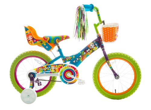 16in Blue Seat (Titan Girl's Flower Power Princess BMX Bike, Multi Color, 16-Inch)
