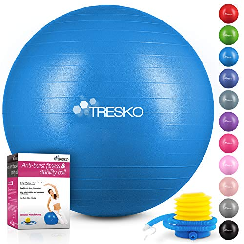 🥇 TRESKO® Pelota de Gimnasia Anti-Reventones | Bola de Yoga Pilates y Ejercicio | Balón para Sentarse | Balon de Ejercicio para Fitness | 300 kg | con Bomba de Aire
