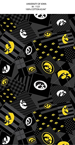 Iowa Hawkeyes Fabric (UNIVERSITY OF IOWA COTTON FABRIC -IOWA HAWKEYES COTTON FABRIC-NEWEST PATTERN-PATCHWORK DESING)