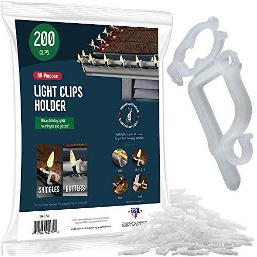 SEWANTA All-Purpose Light Clips Holder - Set of 199 Christmas light hooks - Mount holiday lights to shingles and gutters - works with Rope, Mini, c-7-6-9, icicle lights - USA made - No tools required (Hooks Christmas Outside Lights)