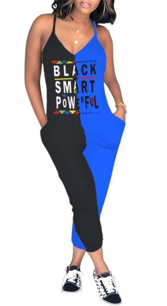 Lajiojio Women Deep V Neck Straps Sleeveless Tank Top High Waist Bodycon Jumpsuit