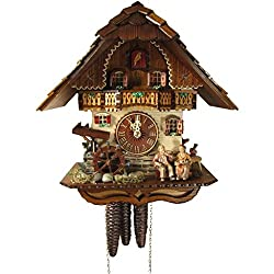 Rombach & Haas (Romba) OMA OPA Model 1312 Black Forest Cuckoo Clock, 1-Day, Exquisitely Carved with Elderly Couple and Animated Figures