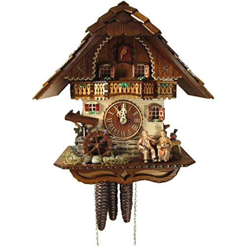 Rombach & Haas (Romba) OMA OPA Model 1312 Black Forest Cuckoo Clock, 1-Day, Exquisitely Carved with Elderly Couple and Animated Figures ()