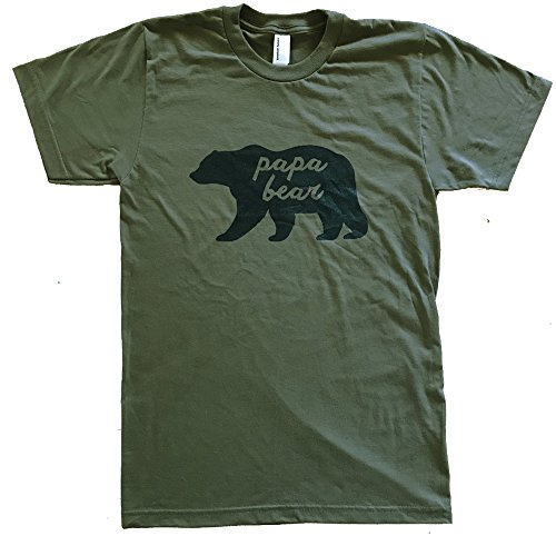 Frienldy Oak's Men's Papa Bear T-Shirt - S - Military Green