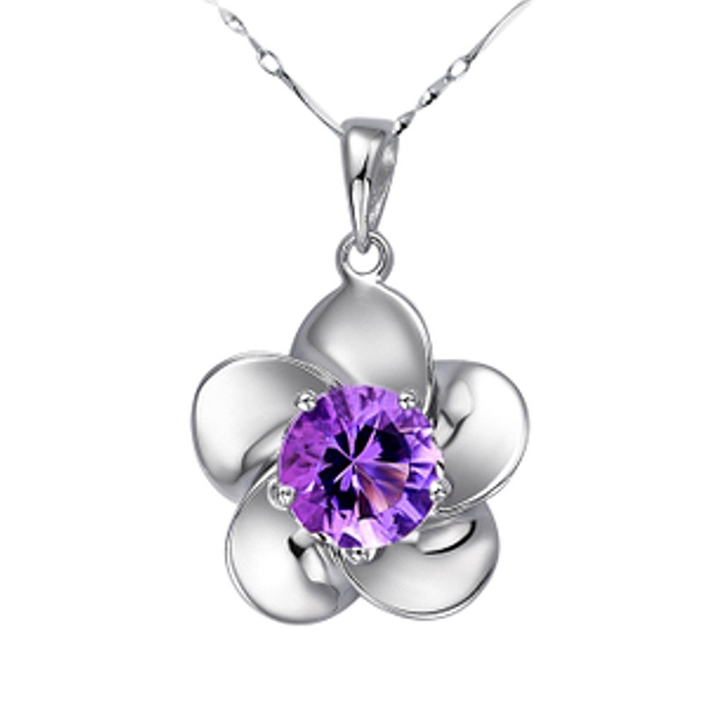 SWEETIE 8 18K White Gold Plated Silver Pendant Necklace Plum Blossom Purple Cubic Zirconia
