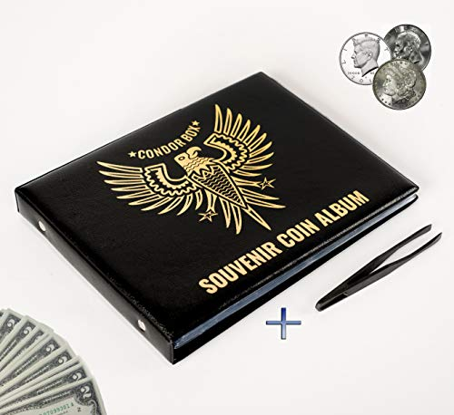 4in1 Coin Holder Album 180 Pockets - Paper Money Collection 10 Pockets - Large Storage Book for Collectors - Gold Silver Dollars Dollar Bill Currency Quarters Penny Foreign Coins - ()