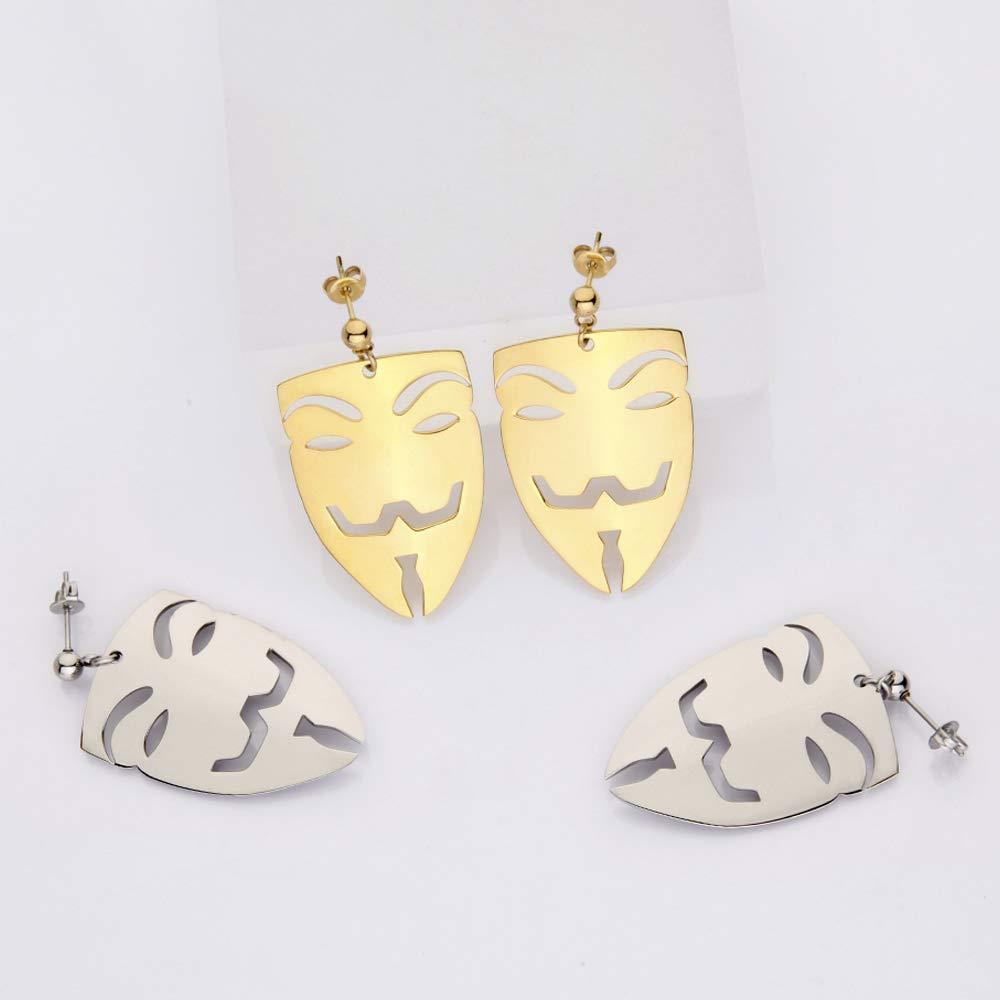 VAROLE Abstract Face Drop Earrings Hollow Human Face Design Pierced Earrings