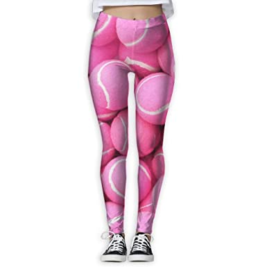3bfadc2df4 Amazon.com: ZXCDYTU Women's Power Bright Pink Tennis Balls Yoga Pants Tummy  Control Workout Yoga Pants Leggings: Clothing