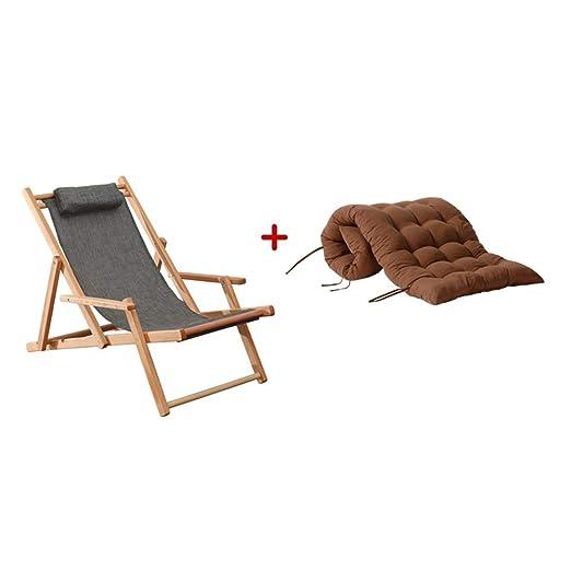 CHDE Chaise lounge Silla gris Cojín extraíble Silla de playa ...
