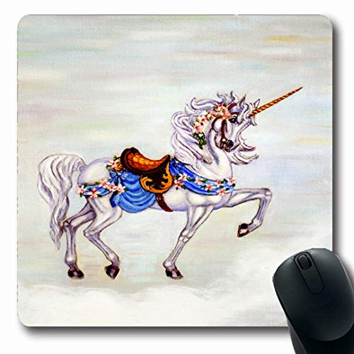 Ahawoso Mousepads Carousel Original Painting Unicorn On Cloud Oil Horse Canvass Cheerful Creature Design Spring Oblong Shape 7.9 x 9.5 Inches Non-Slip Gaming Mouse Pad Rubber Oblong - Carousel Prancing