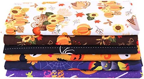 EBSTL 6 Pcs 50x50cm Halloween Pumpkin Ghost Printed Fabric for Making Bags Crafting DIY Sewing Festival Decor Cushions Cotton Fabric for Quilting Patchwork