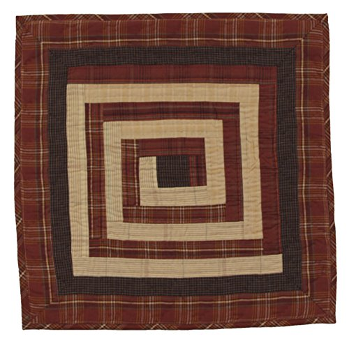 Log Cabin Burgundy Wall Hanging Quilt 18 Inches by 18 Inches 100% Cotton Handmade Hand Quilted Heirloom Quality