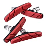 Hotop 2 Pairs V Bike Brake Pads with Hex Nuts and Spacers V Bicycle Brake Blocks Set 70 mm (Red)