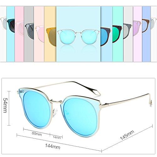 Protection Rond Lens lunettes Polarized Lentilles unisexe soleil UV Miroir Circle SJ1057 Double SOJOS Vintage de 4qnwxaU4