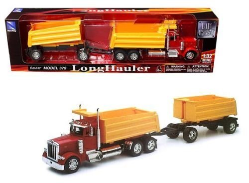 New 1:32 PETERBILT MODEL 379 DOUBLE DUMP TRUCK & Trailer SS-10573A Diecast Model By NEW RAY TOYS