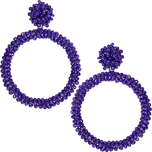 Humble Chic Beaded Hoop Earrings for Women - Statement Chandelier Big Hoops Bohemian Circle Post Disc Studs Round Drop Dangles, Purple Dangles, Dark Indigo, ()