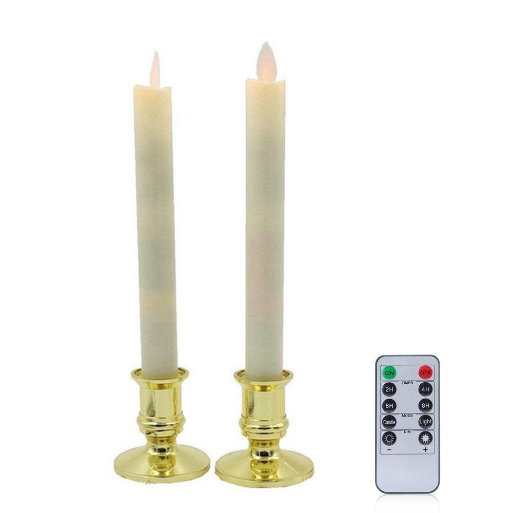カウくる RUmfOテーパウィンドウFlameless Candles with Candles Removableゴールドホルダー with、電動ウィンドウキャンドルランプwithリモートタイマー電池式誕生日ウェディングホームパーティー装飾セットの2 B078NRDGCQ B078NRDGCQ, 安くておしゃれ!カーテンみづこし:495bf762 --- egreensolutions.ca
