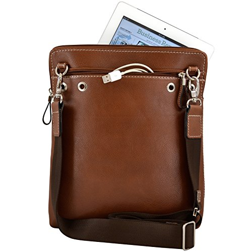 Alicia Klein Mens Womens Leather Tablet Bag Crossbody For Tablet Ipad Kindle Notebook