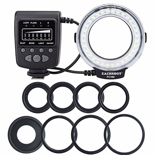 EACHSHOT FC100 Macro Ring Light Flash Comes with 8 Adapter Rings for Canon Nikon Sony Fujifilm Olympus Panasonic Pentax and Other Standard Hot Shoe Digital Cameras