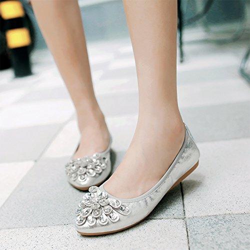 Meeshine Damen Faltbare weiche Spitzschuh Ballerinas Strass Komfort Slip auf flache Schuhe Silber 01