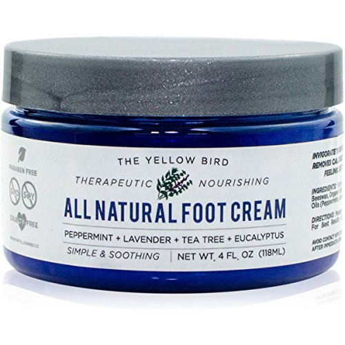 (All Natural Antifungal Foot Cream. Moisturizing Organic Relief for Dry Cracked Heels, Callused Feet, Athletes Foot. Best Therapeutic Grade Essential Oils: Peppermint, Lavender, Eucalyptus, Tea Tree.)