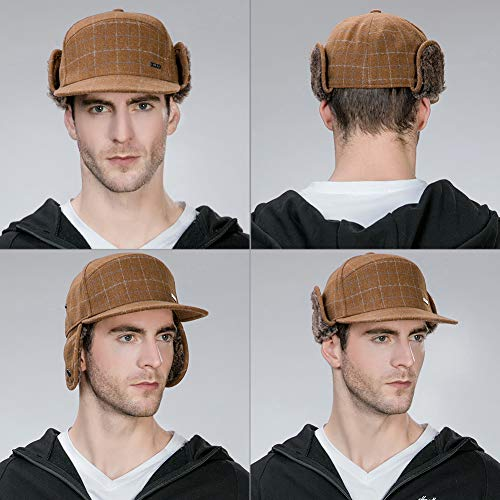 FancetAccessory Winter Trapper Hat for Men Baseball Cap with Ear Flaps Flat  Bill Hat Fur Hunting 9a10417a38e6