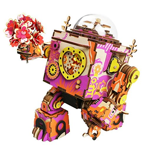 3D Handmade Music Box Educational Toy DIY Wooden Puzzle Creativity Gift Decorations Gift Crafts Artwork – Romantic Robot Music Box